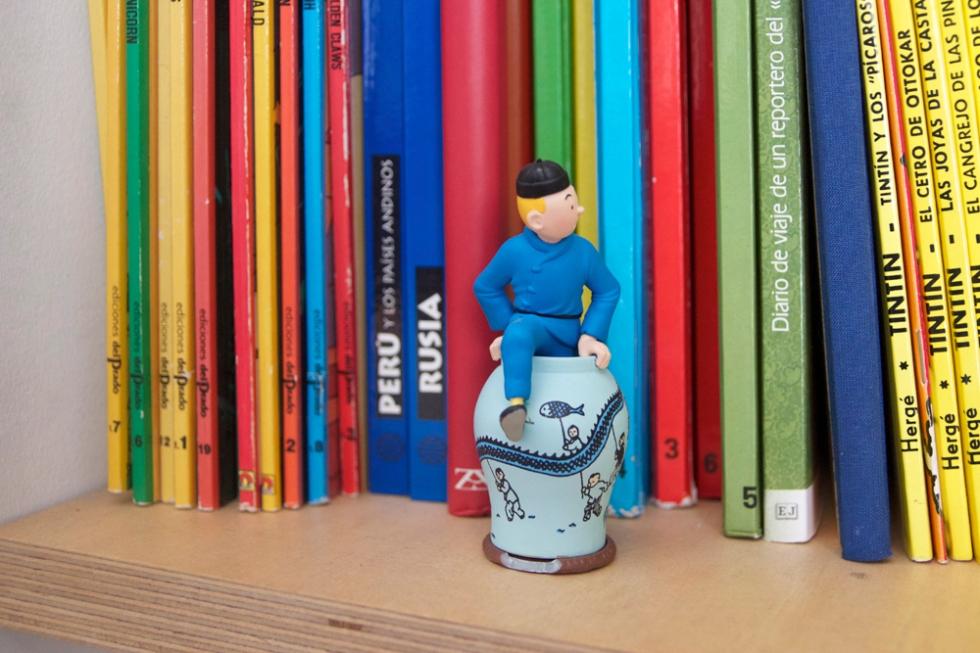 Detalle del rincón de lectura de Martín Casariego en su casa en Madrid.  Karina Beltrán © 2013
