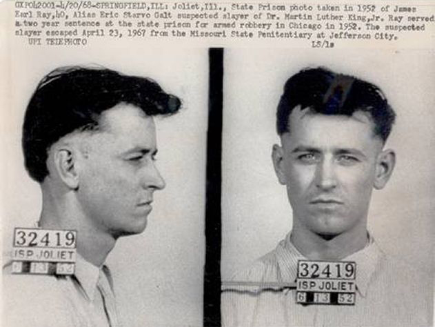 Ficha policial de James Earl Ray, el asesino de Martin Luther King.