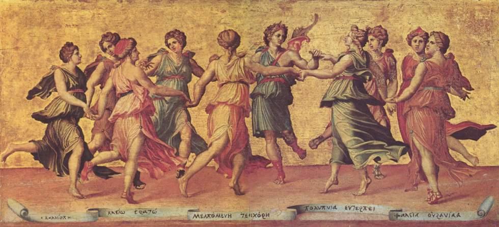 "Cuadro ""Danza de Apolo con las Musas"" de Giulio Romano"